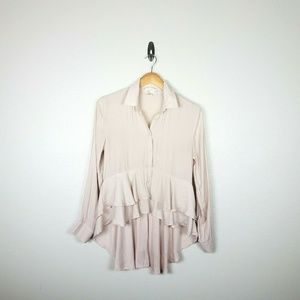 Band of Gypsies Ruffle Hi Lo Blouse XS Pale Pink
